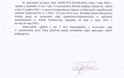 Informacja dot. zawieszenia działalności oddziałów przedszkolnych