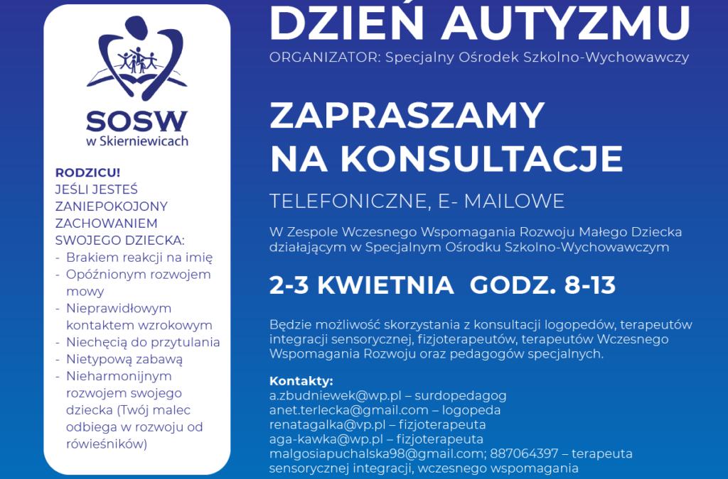 Światowy Dzień Świadomości Autyzmu – Konsultacje